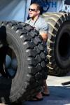 Rob Orlando demonstrates how to flp a tire.